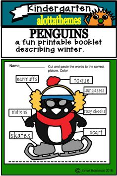 Included in this package is 16 page printable ready to go worksheets describing what this funny penguin wears in the winter. Funny Penguin, Name Pictures, Kindergarten Classroom, Classroom Ideas, Kids Patterns, Cut And Paste, Literacy Activities, Sight Words, Summer Kids