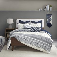 Shop The Curated Nomad Natoma Navy Cotton Chenille Printed Duvet Cover Set - Overstock - 29447791 - King - Cal King Bohemian Comforter Sets, Shabby Chic Comforter, Ruffle Bedding, Duvet Sets, Duvet Cover Sets, Bedroom Comforter Sets, Shabby Chic Material, Cotton Duvet, California King