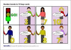 Number bonds to 20 loop cards - SparkleBox Classroom Displays, Math Classroom, Classroom Activities, Dinosaur Activities, Number Activities, Ks1 Maths, Maths Area, Numeracy, Number Bonds To 20