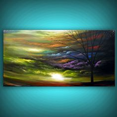 art original painting abstract landscape painting tree painting large painting cloud stars tree original sunset HUGE 54 x 24 Mattsart