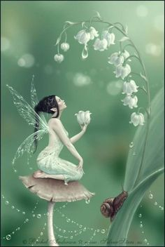 'Lily of the Valley Flower Fairy' Art Print by Rachel Anderson Fantasy World, Fantasy Art, Fantasy Fairies, Fantasy Love, Lily Of The Valley Flowers, Fairy Pictures, Love Fairy, Beautiful Fairies, Flower Fairies