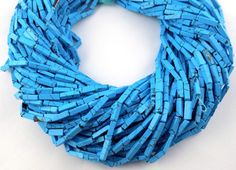 3 Strands Synthetic Matrix Blue Turquoise 3x9-3x11mm Rectangle Drilled Beads