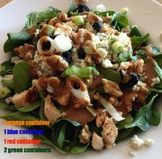 This is my go-to salad for lunch while on the 21-day fix program. It's filling, portable, and delicious. Ingredients: baby spinach grilled chicken gorgonzola cheese walnuts dried cherries green oni...