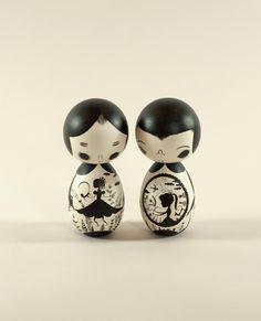 modern Kokeshi dolls
