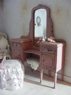 12th scale shabby chic dressing table & stool by shabbychicminis, $95.00