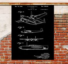 Hughes Airplane Poster, Hughes Airplane Patent, Airplane Print, Hughes Airplane Art, Hughes Airplane Decor, Airplane art, Flying, pilot, p9 by STANLEYprintHOUSE  0.79 USD  This is a black and white vintage patent print. Howard Hughes airplane from 1943. This is available with a white background or black background. Choose between background color and multiple sizes. _______________________________________________________________________________ Are you ..  https://www.etsy.com/ca/l..
