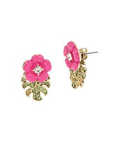 Betsey Johnson - Tropical Punch Flowers and Leaves Earring Jacket