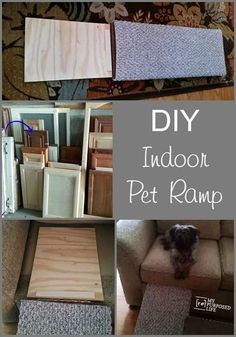 How to make an indoor pet ramp to aid your small or geriatric pet get on or off the sofa or couch. This ramp is an easy and inexpensive diy project for anyone. Cat Ramp, Dog Ramp For Bed, Westies, Dachshunds, Beagles, Dog Stairs, Pet Steps, Indoor Pets, Cat Dog