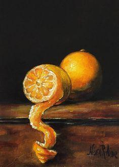 Peeled Lemon Original Oil Painting by Nina R.Aide Fine Art #lemon#peeled#still Life#oil painting