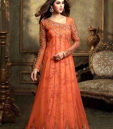Buy Orange net embroidered semi stitched salwar with dupatta party-wear-salwar-kameez online