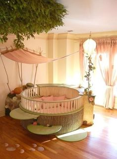 Calm soft beautiful baby girl room