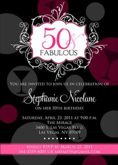 Fabulous 50th Birthday Party Beach Invitations