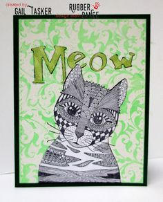 * Rubber Dance Blog *: Green Greeting card with cute cat stamp