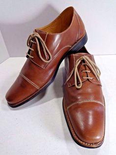 SANDRO MOSCOLONI Size 15 Cognac Leather Mens Norridge Cap Toe Derby Ox Oxford  #SandroMoscoloni #Oxfords