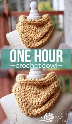Quick One Hour Cowl Crochet Pattern - Easy Crochet Cowl Pattern Quick One Hour Cowl - Crochet Pattern by Rescued Paw Designs - Free Crochet Scarf Pattern Crochet Cowl Free Pattern, Crochet Gratis, Easy Crochet Patterns, Knit Or Crochet, Crochet Scarves, Crochet Shawl, Crochet Stitches, Knitting Patterns, Crotchet