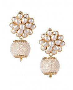 #Exclusivelyin, #IndianEthnicWear, #IndianWear, #Fashion, Floral Faux Pearl Earrings