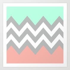 Colorblock Chevron in mint, coral, & grey <3