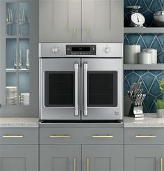 """In love with this GE Cafe Series 30"""" Built-in French Door Convection Wall Oven. Beautiful and has all the bells and whistles!"""