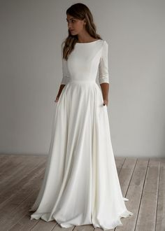 Romantic wedding dress adri minimalist dress long sleeves crepe dress romantic bridal chiffon dress elegant boat 15 simple and memorable makeup ideas you can rely on for parties ideas makeup memorable parties rely rusticweddingmakeup simple Top Wedding Dresses, Wedding Dress Chiffon, Wedding Dress Trends, Simple Wedding Dress With Sleeves, Long Sleeved Wedding Dresses, Wedding Dress Sleeves, Lace Wedding, Modest Wedding Gowns, Wedding Dress With Pockets