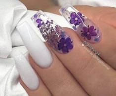 Chic Natural Gel Nails Design Ideas For Coffin Nails - white Gel coffin nails long, natural gel nails design, gel nai Purple Acrylic Nails, Summer Acrylic Nails, Best Acrylic Nails, Purple Nails, Acrylic Nail Designs, White Summer Nails, Purple Nail Designs, Blue Nail, Pastel Nails