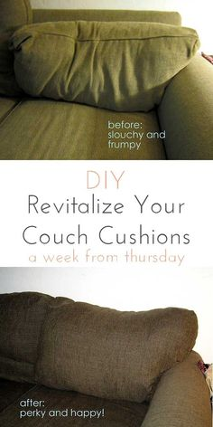 This Tutorial Uses High Loft Batting And Pillow Stuffing To Re Stuff Couch  Cushions That Lost Their Shape And Are Sagging. Revitalize Your Couch  Cushions!