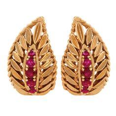 Van Cleef & Arpels Gold and Ruby Leaf earclips, 1950's