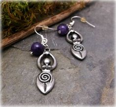 Amethyst Spiral Goddess earrings wicca,pagan,metaphysical,new age,witch
