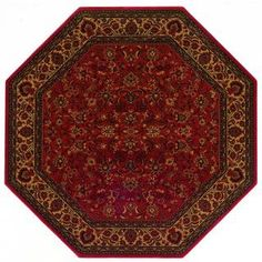 Charming Everest Isfahan Luxurious Crimson Rug In Octagon Shape For Tuscan Floors