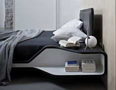 Aryton – Modern Italian Beds With Shelves by Ora Ito » Italian Design Beds