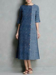 Buy Indigo Ivory Coral Dabu Printed Button Detail Cotton Dress by Indian August Apparel Tops Kurta Patterns, Dress Patterns, Kurta Designs Women, Blouse Designs, Dress Designs, Linen Dresses, Cotton Dresses, Batik Mode, Batik Fashion