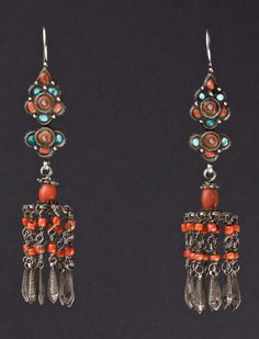 Mongolia | Silver, coral and turquoise earrings from the beginning of the 1900s.