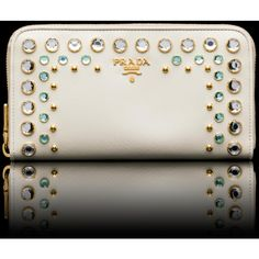 PRADA - WALLET STUDDED PATENT SAFFIANO LEATHER WALLET GOLD-PLATED ...