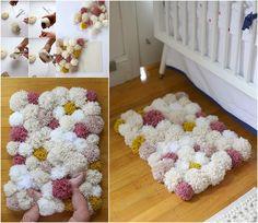 DIY Cute Pom Pom Rug....Easy Tutorials Will Teach You How to Make A Rug at Home #DIYCrafts
