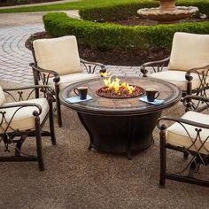 Agio Tempe Gas Fire Pit With Bronze Chat Base