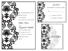 Printable Wedding Invitations Kit:  Black and White Damask + other colors