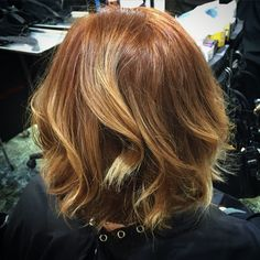 Copper hair ombré hairpainting highlights red hair curls wands balayage