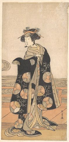 Yoshizawa Iroha as a Woman Standing on the Engawa of a House by a River  Katsukawa Shunshô  (Japanese, 1726–1792)  Period: Edo period (1615–1868) Date: ca. 1778 Culture: Japan Medium: Polychrome woodblock print; ink and color on paper