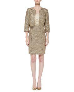 -59RW Kay Unger New York 3/4-Sleeve Cropped Tweed Jacket & Sleeveless Tweed-Skirt Cocktail Dress