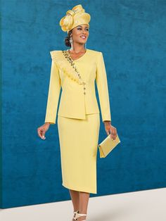 Ben Marc Specials 48052 Skirt Suit Ensemble In A Box Wlth Shoulder Ruffle Adornment - Ensemble Specials - ExpressURWay Church Dresses For Women, Women Church Suits, Church Outfits, Suits For Women, Women's Dresses, Dame Chic, Classy Suits, Embellished Skirt, Leopard Print Skirt