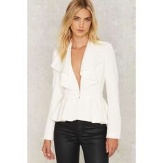 Do Me a Favor Ruffle Blazer featuring polyvore, women's fashion, clothing, outerwear, jackets, blazers, white, collar jacket, peplum jacket, white peplum blazer, blazer jacket and ruffle blazer jacket