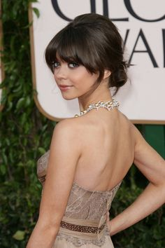Sarah Hylands updo hairstyle with bangs