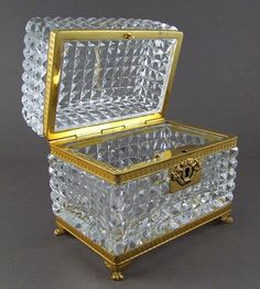 French Cut Crystal Footed Jewelry Casket Box Gilt Bronze Mounts & Lock from theantiqueboutique on Ruby Lane