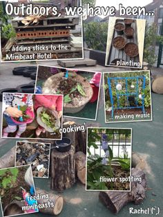 Love the overlay of the small detailed photos on top of the full scene. Learning Stories, Learning Activities, Outdoor Activities, Activities For Kids, Forest Classroom, Outdoor Classroom, Outdoor Learning Spaces, Outdoor Education, Outdoor School