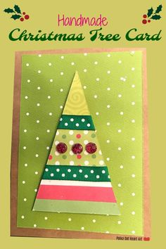 Simple Handmade Christmas Tree Holiday Card with Green, Red and White Paper, Ribbon and Embellishments on Brown Kraft Paper. Designed by Polka Dot Heart Art.