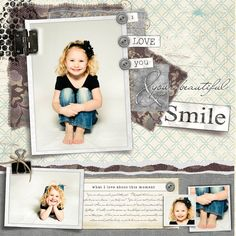 "Darling ""I Love You & Your Beautiful Smile"" Scrapbooking Page...ahni & zoe - Creative Memories."