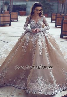 Cheap arab wedding dresses, Buy Quality gown wedding directly from China wedding gowns Suppliers: Top Customized Crystal Champange Arab Wedding Dresses 2017 Puffy Shining Stones Arabic Girl Ball Gown Wedding Gowns Mariage Long Sleeve Bridal Dresses, Long Wedding Dresses, Long Sleeve Wedding, Princess Wedding Dresses, Bridal Gowns, Gown Wedding, Arab Wedding, Dubai Wedding, Formal Dresses