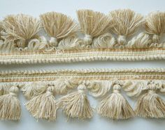 Vintage French, tassel trim, fine wool trim, cream and sand, beautifully soft, sewing supplies, craft supplies, French passementerie, 160cm