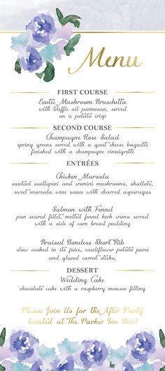 wedding menu, wedding menu cards, menu card, blue wedding menu