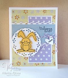 Hand stamped baby card by Marisa Ritzen using the Hip Hop Bunnies set from Verve. #vervestamps