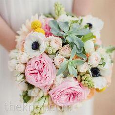 Romantic Pink Bridal Bouquet: pink roses, anemones, succulents, craspedia